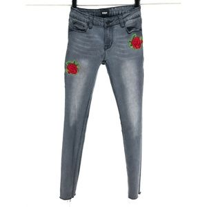 Hudson Girls Sz 14 Skinny Jeans Gray Embroidered
